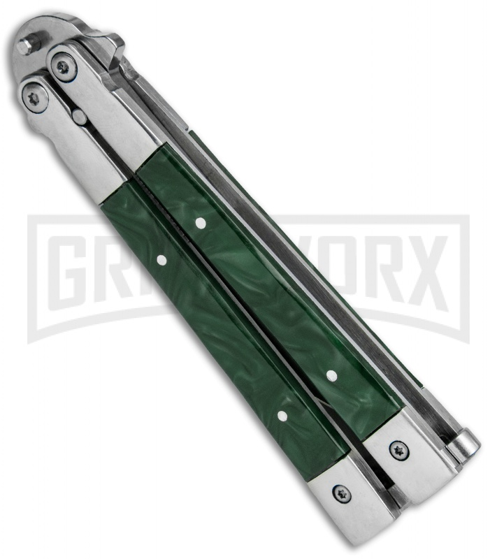 Noble Flipper Green Marble Balisong Butterfly Knife - Satin Plain