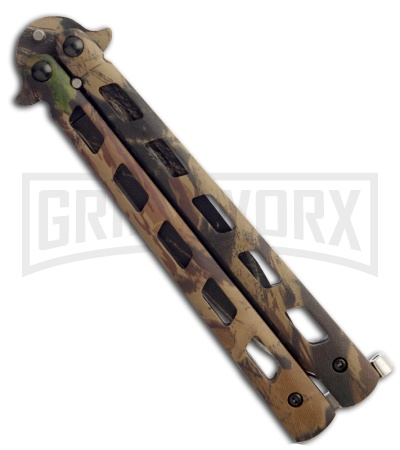 Monarch Tree Camo Balisong Butterfly Knife - Camo Plain