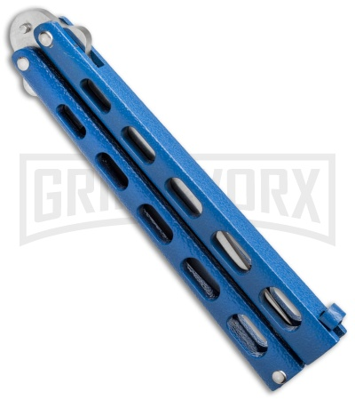 Bear and Son Knives 114 Blue Balisong Butterfly Knife - Satin Plain 4TH18