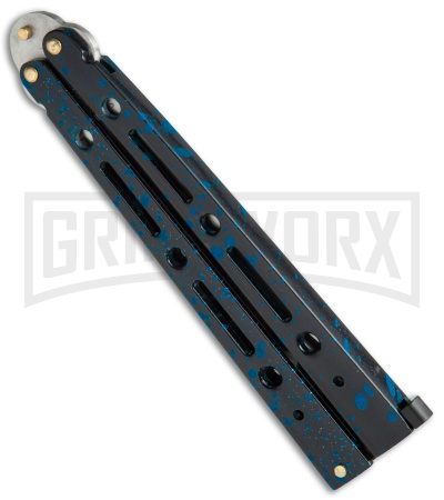 Mega Flick XL Blue Balisong Butterfly Knife - Satin Plain