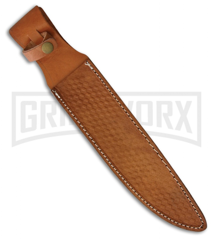 Rough Rider Coffin Bowie  Black Micarta Fixed Blade Knife - Satin Plain
