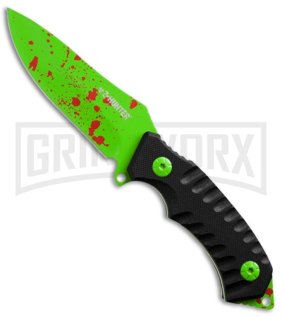 Z-Hunter Mad Splatter Black G-10 Fixed Blade Knife - Green Plain