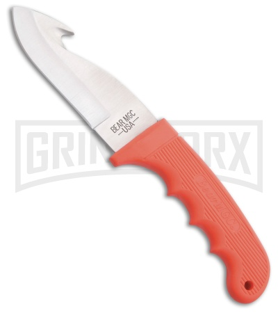 Bear & Son Guthook Hunter Orange Kraton Fixed Blade Knife - Satin Plain