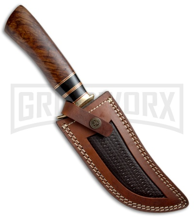 Tallen Damascus Bowie #5 Fixed Blade Knife Wood - Damascus Plain