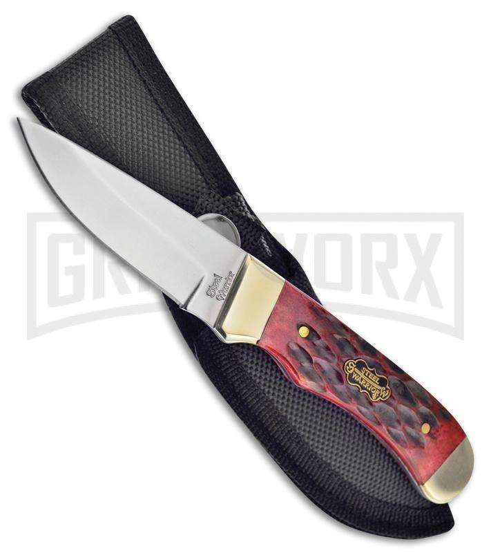 Frost Cutlery Steel Warrior Coon Hunter Red Bone Fixed Blade Knife -Mirror  Plain