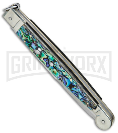 "A.G.A. Campolin 12"" Abalone Sicilian Ring Pull Automatic Knife - Bayonet"
