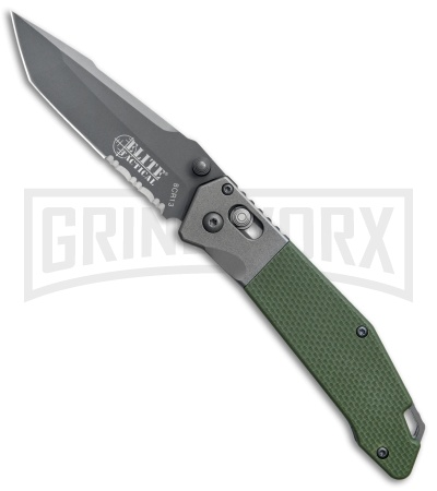 Elite Tactical 1027GN Green G-10 Folding Knife - Tanto Gray Serr