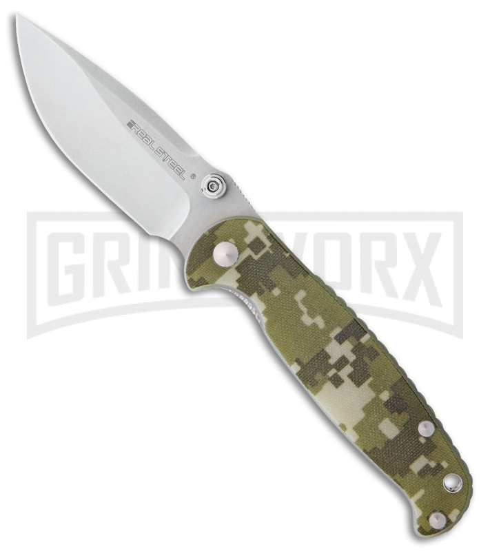 Real Steel H6 Blue Sheep Digi-Camo G-10 Folding Knife - Stonewash Plain