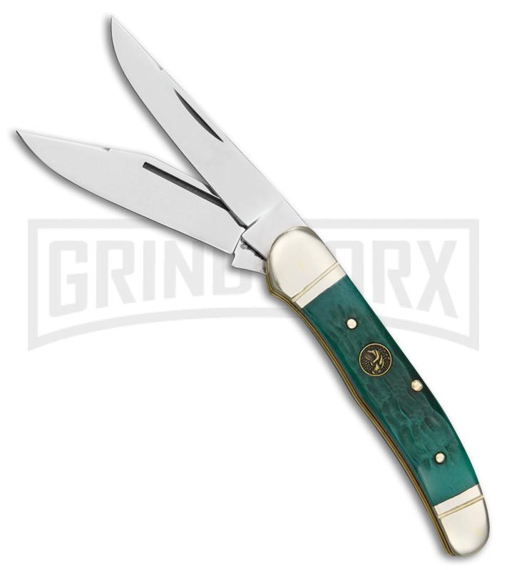 Hen & Rooster Copperhead Green Bone Pocket Knife