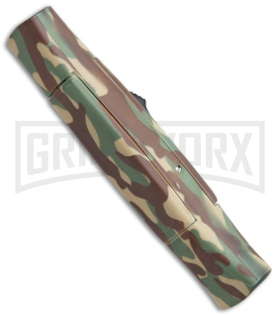 AKC 077 Concord Green Camo OTF Automatic Knife - Flat Gold Plain