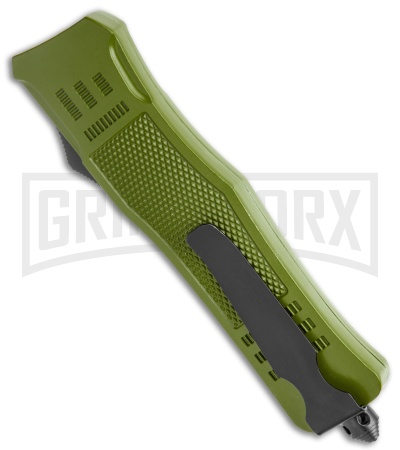 Atomic Defender Large OTF Automatic Knife OD Green - Serr Two Tone Drop Point