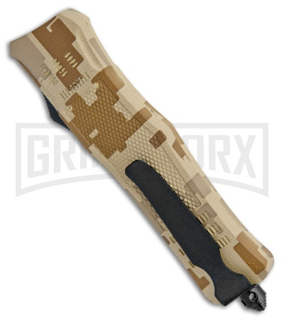 Atomic Defender Drop Point  Tan Camo OTF Automatic Knife - Two Tone Plain