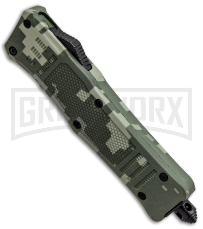 Atomic Mini Defender Green Digi-Camo OTF Automatic Knife - Tanto Black Plain