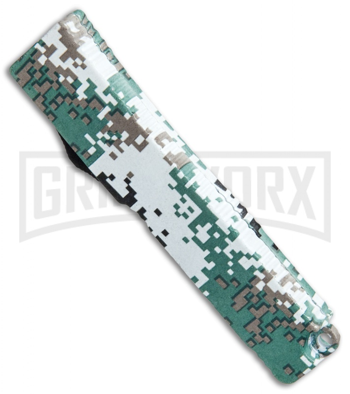 Firecracker Mini Green Digi Camo D/A OTF Automatic Knife - Black Plain