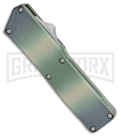 Lightning Camo D/A OTF Automatic Knife - Tanto Satin