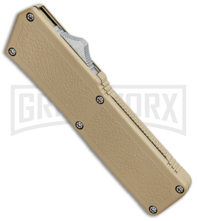 Lightning Tan D/A OTF Automatic Knife - Tanto Satin