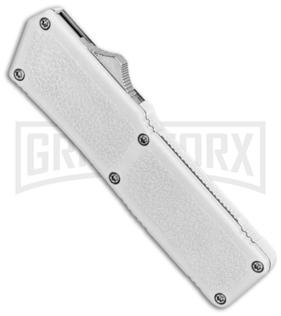 Lightning White D/A OTF Automatic Knife - Dagger Two-Tone Serr