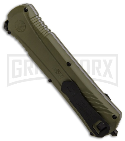 M&P Spring Assisted OD Green OTF Spear Point Knife - Black Plain
