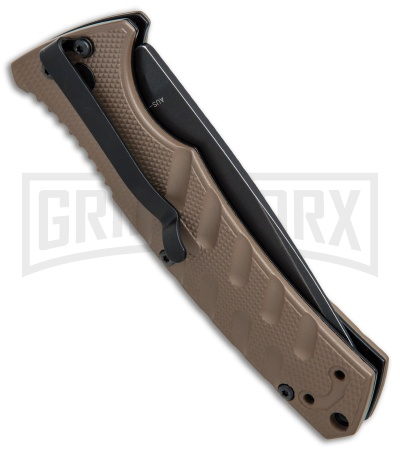 Boker Plus Strike Coyote Brown Automatic Knife - Tanto Black SW Serr
