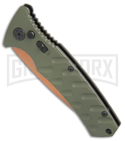 Boker Plus Strike Desert Warrior OD Green Automatic Knife - Drop Point Copper