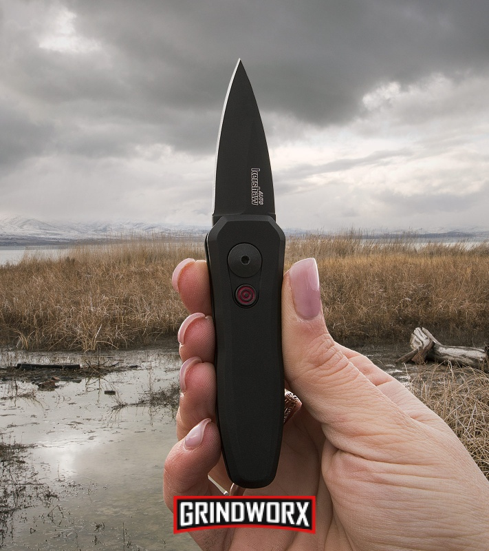 Kershaw Launch 4 Black Automatic Knife CA Legal - Black Plain