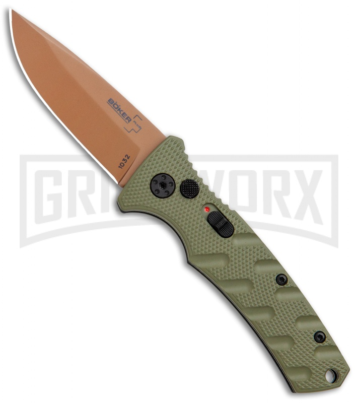 Boker Mini Strike Automatic Knife Black - Drop Point Copper  Plain