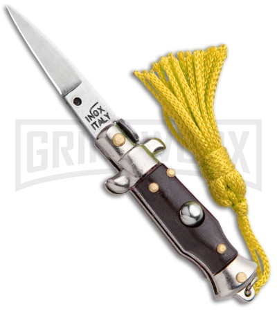 Italian Stiletto Brown Automatic Knife Yellow Keychain - Flat Grind