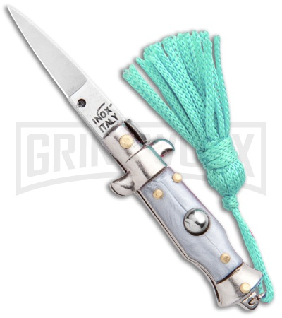 Italian Stiletto Gray Automatic Knife Teal Keychain - Flat Grind