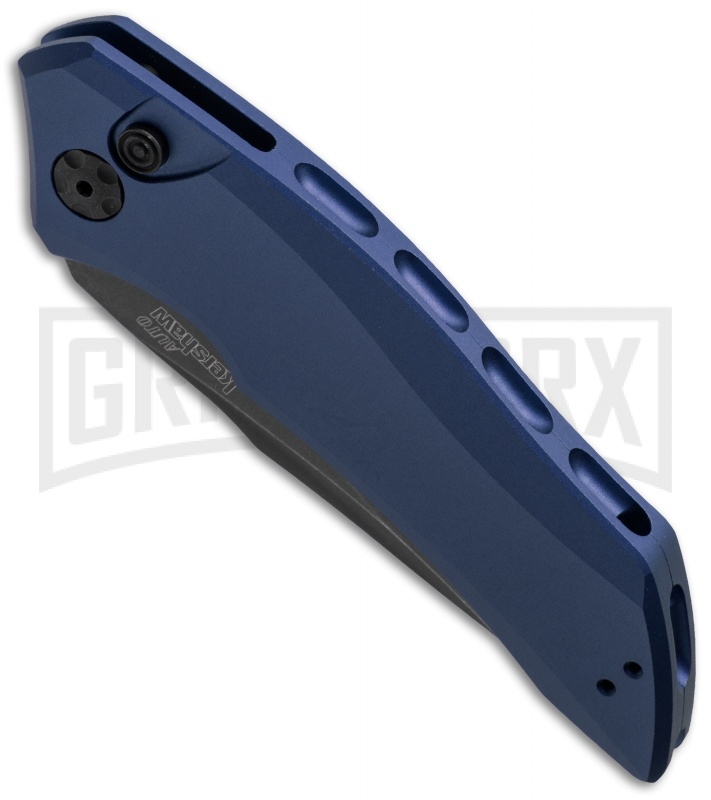 Kershaw Launch 1 Blue Aluminum Automatic Knife - Blackwash Plain