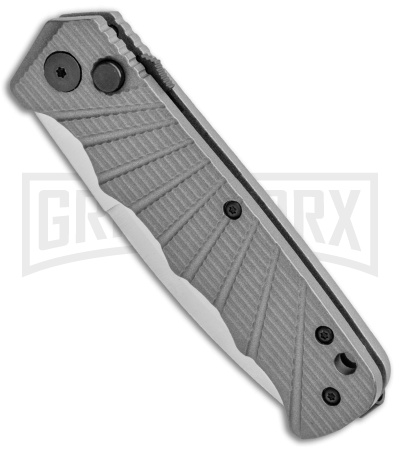 Delta Force Automatic Knife Gray Aluminum - Satin Serrated