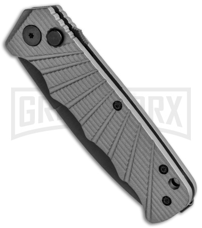 Delta Force Automatic Knife Gray Aluminum - Black Plain