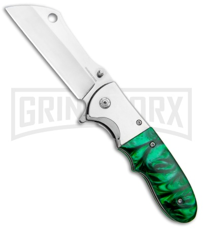 Green Marble Spring Assisted Knife - Cleaver Satin Plain