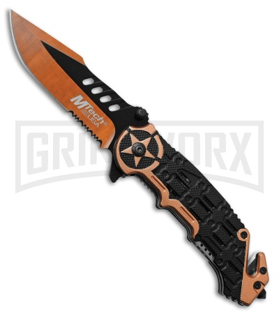 M-Tech USA Chieftain Gold Spring Assisted Knife - Two-Tone Serr