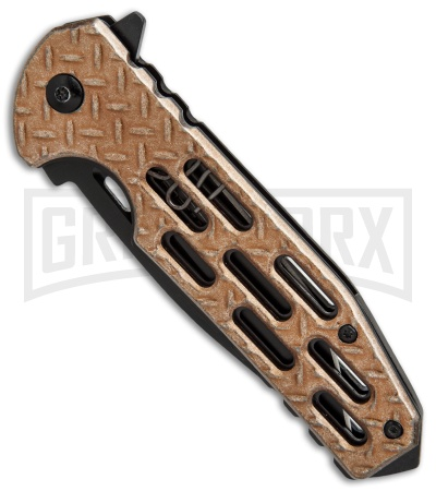 M-Tech Diamond Plate Bronze Spring Assisted Knife - Black Plain