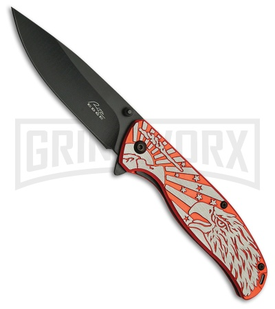 Rite Edge Eagle Pride Red Spring Assisted Knife - Black Plain