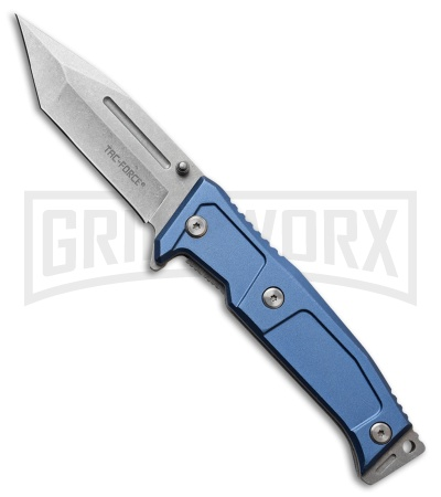 Tac-Force Disarray Blue Aluminum Spring Assisted Knife - Stonewash Plain