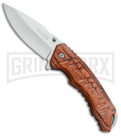 Tac-Force Grooved Wood Spring Assisted Knife - Satin Plain
