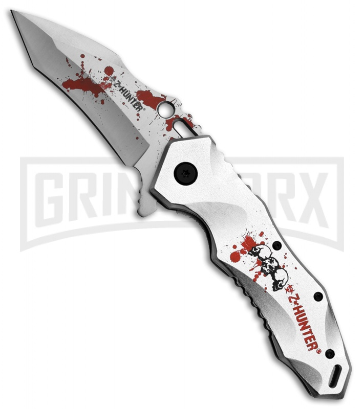 Z-Hunter Splash Damage Silver Spring Assisted Knife - Satin Plain