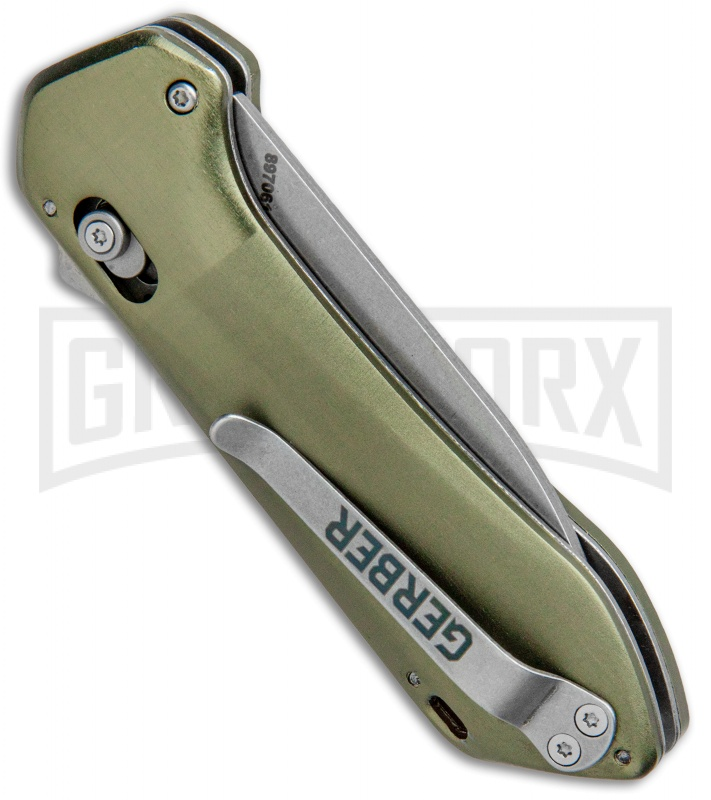 Gerber Highbrow Compact  Green Al A/O Spring Assisted Knife - Stonewash Plain
