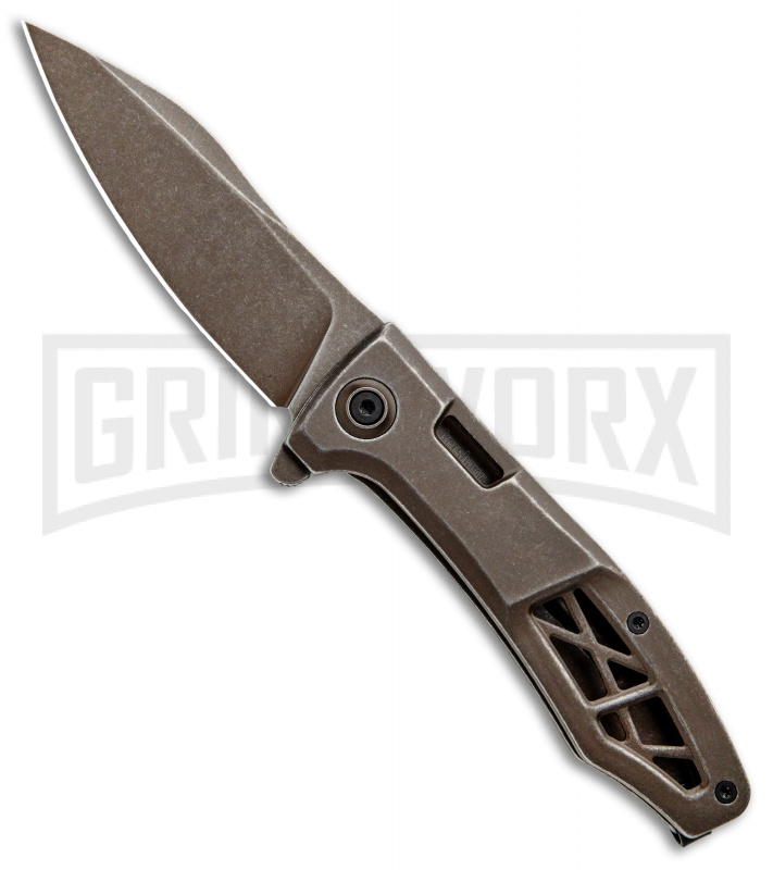 Kershaw Boilermaker Assisted Opening Frame Lock Knife Brown Stainless Steel