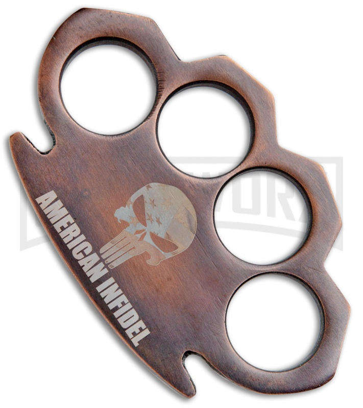 Fat Boy Copper Skull American Infidel Stainless Steel Paper Weight Knuckles