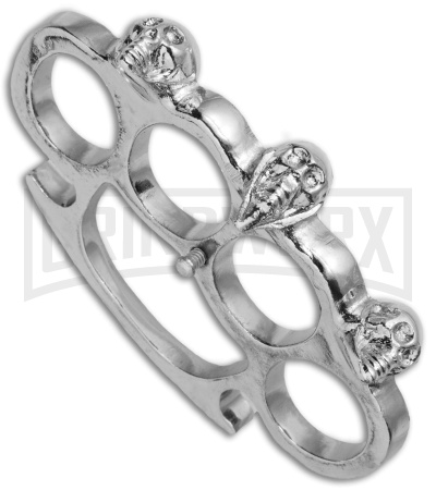 Phantom Silver Stainless Steel Skull  Knuckles