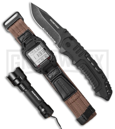 Humvee Recon Mission Watch, Knife, and Flashlight Combo Set